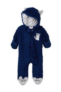 Raccoon Faux Sherpa Hooded Pram (Baby Boys)
