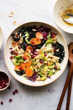 Winter slaw with mustard orange dressing is an easy and delicious way to incorporate raw veggies into your diet in winter. Naturally vegan and gluten-free. New Recipes, Salad Recipes, Vegan Recipes, Vegan Food, Delicious Recipes, Lazy Cat Kitchen, Vegan Coleslaw, Shredded Brussel Sprouts, Healthy Foods To Eat