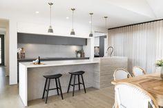 #kitchen #pendantlights #herringbone #herringbonebacksplash #sheercurtains #twotonekitchen