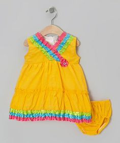 Look what I found on #zulily! Yellow Surplice Dress & Diaper Cover - Infant & Girls by 2B Real #zulilyfinds