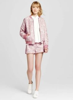 Victoria Beckham for Target Blush Floral Jacquard Bomber Jacket $35 and Floral Pleated Jacquard Shorts $28