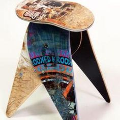 Group Gifts from Splitzee   Recycled Skateboard Stool #dorm #college #student #group #gift #ideas