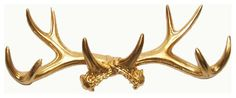 Gold Faux Deer Antler Wall-Mount Coat Rack by White Faux Taxidermy - eclectic - Hooks And Hangers - Etsy