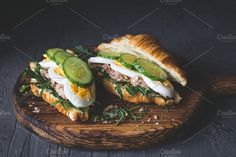 Delicious croissant sandwiches by The baking man on @creativemarket