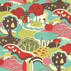 Avant Garden Landscape in Rose Colored Momo by PinkDoorFabrics