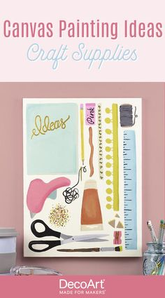 Craft supplies are essential, showcase your love of crafting with this awesome canvas painting! Easily customize it by switching up the colors to reflect your own favorite crafting supplies. Acrylic Painting Canvas, Craft Supplies, Crafting, Display, Fine Art, Colors, Awesome, Projects, Pink