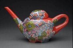 Megan Bogonovich - Teapot - majolica ware [2010] - $350.00 : artstream, fine art, artwork, fine crafts, original prints, sculpture