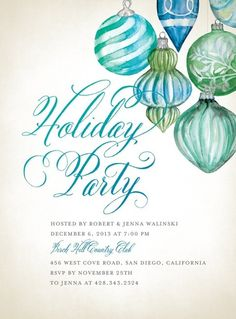 holiday invite blue teal
