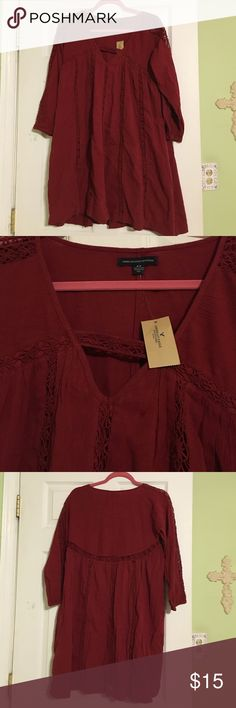 NWT American Eagle S Boho Tunic in Res New with tags! Small American Eagle boho tunic in red. Would look great with leggings. Crochet details. American Eagle Outfitters Tops Tunics