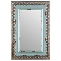Large Distressed Blue Wood & Metal Mirror Home Wall Decor Shabby Chic Wall Mirror Online, Mirror Shop, Wall Mirrors, Shabby Chic Mirror, Shabby Chic Decor, Rustic Decor, Wood And Metal, Metal Walls, Silver Metal