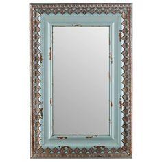 Large Distressed Blue Wood & Metal Mirror Home Wall Decor Shabby Chic Shabby Chic Spiegel, Shabby Chic Mirror, Shabby Chic Decor, Rustic Decor, Interior Wood Stain, Mirror Shop, Metal Mirror, Antiqued Mirror, Circular Mirror
