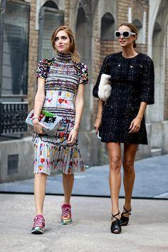 Candela Novembre and Chiara Ferragni street style outfits in Paris.
