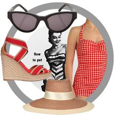 Vintage swimwear look book.~Channel vintage bathing beauties next time you hit the beach, in a low-cut swimsuit (either strapless, or with a sweetheart halter) a big chic hat, some sky-high wedges and, of course, cat eye sunglasses!❤