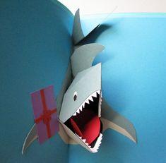 Make your own pop-up-shark art. 21 Terrifyingly Perfect Gifts For Shark-Loving Kids Kirigami, Homemade Birthday Cards, Homemade Cards, Boy Cards, Kids Cards, Paper Art, Paper Crafts, Foam Crafts, Paper Toys