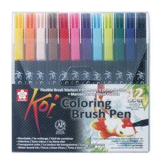 Sakura KOI Coloring Brush Pen zestaw 12 pisaków  - sklep plastyczny - szal dla plastykow-