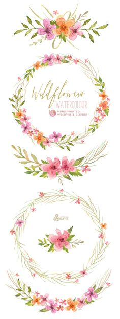 This set of 6 high quality hand painted watercolor clipart wreaths, 4 bouquets). Perfect graphic for wedding invitations, greeting cards, quotes Wreath Watercolor, Watercolor Flowers, Watercolor Paintings, Watercolors, Watercolor Wedding, Deco Floral, Illustration, Wild Flowers, Floral Flowers