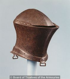 Jousting helm. Probably English, early 15th century. From the tomb of Sir William Barendyne, Great Haseley Royal Armouries Inv. nº IV.1841,  http://collections.royalarmouries.org
