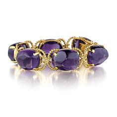 """Verdura amethyst """"Pebble"""" pendant earrings in yellow gold. Four oval-shaped cabochon-cut amethysts weighing total carats. Designed by Verdura. 18k Gold Bracelet, Amethyst Bracelet, Bangle Bracelets, Bangles, Amethyst Armband, Fantasy Jewelry, Schmuck Design, Pendant Earrings, Jewelry Collection"""
