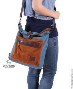 Женская сумка-трансформер из голубого канваса, кожи и замши - купить или заказать в интернет-магазине на Ярмарке Мастеров | Женская сумка - трасформер, изготовлена из…