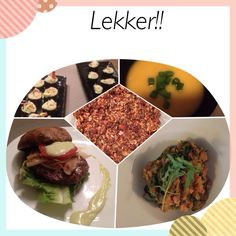 Bloemkoolrijst sushi, bloemkool soep, portobello hamburger, rucola stamppot met zoete aardappel, notenbar
