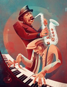 Ornette Coleman and his beautiful white sax.  Illustrated by Helder Oliveira