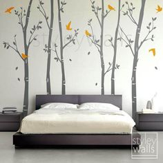 Tree wall decals Winter trees decal Birds nature Forest Trees with Birds Home Decor Set of 6 Vinyl Wall Decal Nursery Baby children Sticker Nursery Wall Decals, Vinyl Wall Decals, Bedroom Wall, Bedroom Decor, Wall Stickers, Diy Wall Painting, House Painting, Wall Decor Pictures, Art Pictures
