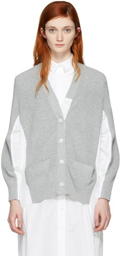 Sacai - Cardigan en maille de coton gris