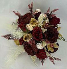 Hand-Tied Artificial Flower Burgundy/Brown Rose Flower Bridal Wedding Bouquet #cintahomedeco #Wedding Artificial Flowers, Wedding Bouquets, Burgundy, Bridal, Rose, Ebay, Fake Flowers, Bridal Bouquets, Wedding Brooch Bouquets