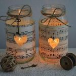 10 Vintage Sheet Music Glass Jars – Wedding Decorations Candles Five Dock Canada Bay Area image 2 is creative inspiration for us. Get more photo abo… 10 Vintage Sheet Music Glass Jars – Weddi… Mason Jar Projects, Mason Jar Crafts, Bottle Crafts, Crafts With Glass Jars, Pot Mason Diy, Diy Mason Jar Lights, Mason Jar Lanterns, Rustic Lanterns, Paper Lanterns