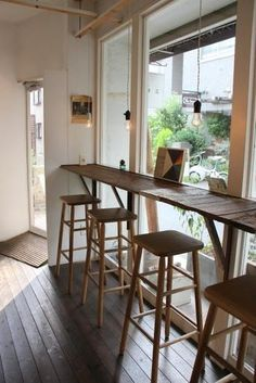cafe style dining at home Cafe Window, Window Bars, Coffee Shop Design, Cafe Design, Interior Design, Small Coffee Shop, Cafe Seating, Window Benches, Window Table