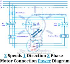 rev for three phase motor connection power and control diagrams rh pinterest com Single Phase Motor Wiring Diagrams Single Phase Motor Wiring Diagrams