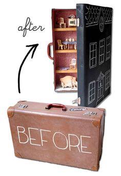 A suitcase turns into a quaint dollhouse.