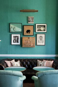 Living Room Decor ~ Bold Contrast between the black leather sofa and the bright turquoise walls