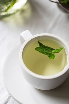 Fresh mint tea; steep fresh mint into boiling hot water (in a jar) then pour as required
