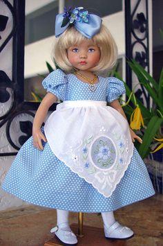 Hankie apron dress fits Effner 13, Little Darling, Betsy McCall. LittleCharmers LittleCharmersDollDesigns  ebay