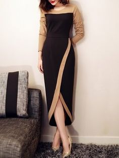 02bc048f85c Elegant Sheath Color-block Long Sleeve Maxi Dress Red Going Out Dresses