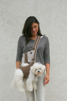 Look at the happy face on that dog! [Not]    -Pet carrier / Crochet dog carrier / Dog sling carrier by BubaDog