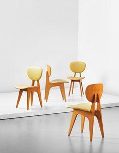 Junzo Sakakura; #3222 Beech and Vinyl Side Chairs for Tendo Mokko, 1955.