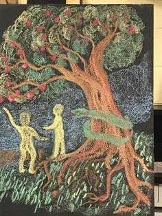 Blackboard Drawing, Old Testament, Adam And Eve, Drawings, Chalkboard, Painting, Teaching, Third, First Grade