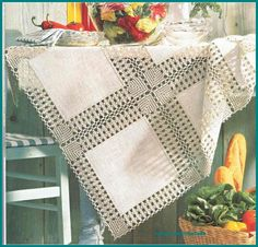 This Pin was discovered by Nei Filet Crochet, Crochet Quilt, Crochet Borders, Crochet Tablecloth, Easy Crochet, Crochet Lace, Crochet Stitches, Crochet Patterns, Chrochet