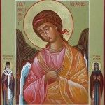 The Archangel Selaphiel with St. Nectarios and St. Xenia of Rome on the borders x 30 cm) by Fr. Religious Icons, Religious Art, Orthodox Icons, Above And Beyond, Christianity, Rome, Archangel, Artwork, Painting