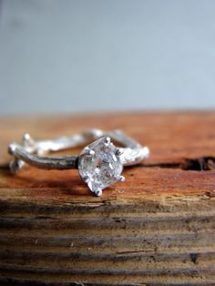Herkimer Diamond Twig Ring Alternative Engagement Ring Sterling Silver Stacking Ring April Birthstone