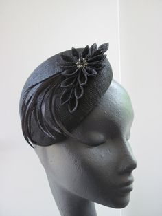 Old school glamour! Gorgeous black vintage style sinamay cocktail hat. The mini-beret base is hand blocked and decorated with a kanzashi style