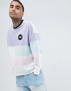 e67e4c041 ASOS DESIGN oversized long sleeve t-shirt with pastel color block and  numerals chest print