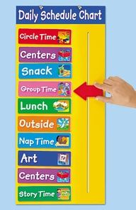 Kid sliding-schedule idea can be created with posterboard and index cards also.  Can also create a schedule where you move the index card from one side to the other when done.
