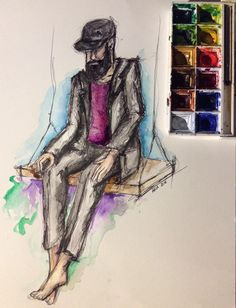 illustrazioni sketch barba cappelli watercolor blackink paint art