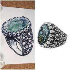Ring Sketch. Illustration. Skull Ring. King Baby Jewelry, Ring Sketch, Skull, Illustration, Rings, Accessories, Ring, Jewelry Rings, Illustrations