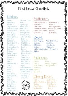 printable first apartment essentials checklist | household items