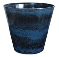 Listo CeramaStone Resin Pottery Planter, 8-Inch, Ocean Wave Blue with Gloss