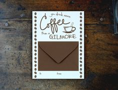 Gilmore Girls gift ideas: Luke's diner coffee mug, she drinks more coffee than a Gilmore mug, Luke's diner sweatshirt, In Omnia Paratus. Gilmore Girls Gifts, Girl Birthday Cards, Girl Gifts, Card Holder, Crafty, Coffee, Drinks, Handmade Gifts, Fan